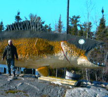 Click on picture of his sculpture at Marten River Ontario and for more on Mike's scultpures